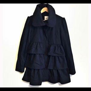 Anthropologie Elevenses wool coat/layered ruffles
